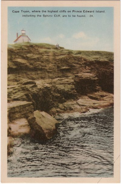 , Cape Tryon, where the highest cliffs on Prince Edward Island, including the Sphinx Cliff, are to     be found. (0775), PEI Postcards