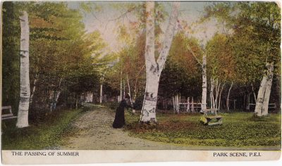 , The Passing of Summer Park Scene, P.E.I. {bottom of card cropped} (0822), PEI Postcards