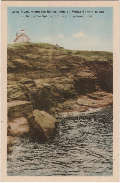 , Cape Tryon, where the highest cliffs on Prince Edward Island including the Sphinx Cliff, are to     be found. (0850), PEI Postcards