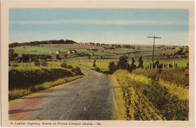 , A Typical Highway Scene in Prince Edward Island. (0783), PEI Postcards