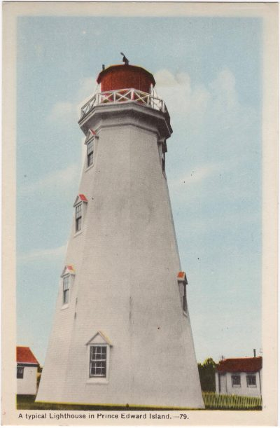 , A typical lighthouse in Prince Edward Island. (0789), PEI Postcards
