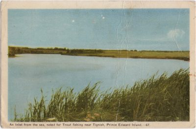 , An Inlet from the sea, noted for Trout fishing near Tignish, Prince Edward Island. (0800), PEI Postcards