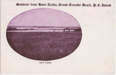, Souvenir from Hotel Acadia, Grand Tracadie Beach, P.E. Island. Bay View (0794), PEI Postcards