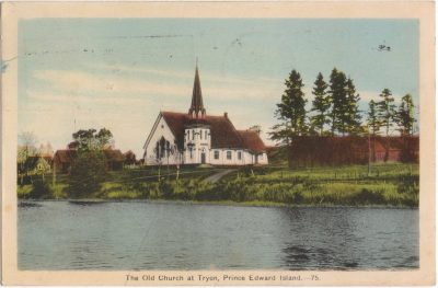 , The Old Church at Tryon, Prince Edward Island. (0808), PEI Postcards
