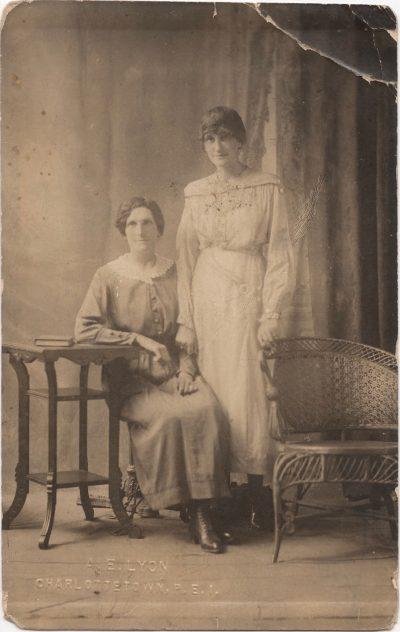 , A.E. Lyon, Charlottetown, P.E.I. Portrait of two women. (0871), PEI Postcards