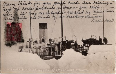 , Steamer Minto in Ice, Northumberland Straits (0883), PEI Postcards