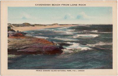 , Cavendish Beach from Lone Rock. Prince Edward Island National Park, P.E.I., Canada. (0880), PEI Postcards