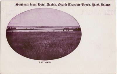 , Souvenir from Hotel Acadia, Grand Tracadie Beach, P.E. Island. Bay View (0935), PEI Postcards
