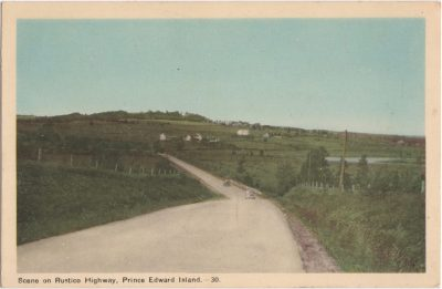 , Scene on Rustico Highway, Prince Edward Island. (0904), PEI Postcards