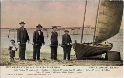 , Five Generations all Pullers Together. Prince Edward Island. Colo Poirier, 98 years, had 11     children; Gilbert, 69 years, has 14 children; John, 47 years, 14 children; Frank, 27 years, 2     children; Master Joseph, 5 years. (0975), PEI Postcards
