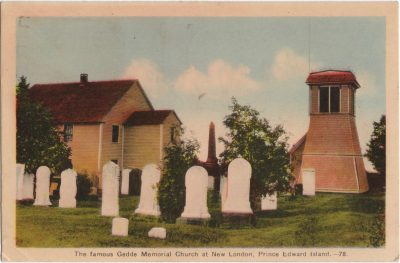 , The famous Gedde Memorial Church at New London, Prince Edward Island. (0949), PEI Postcards
