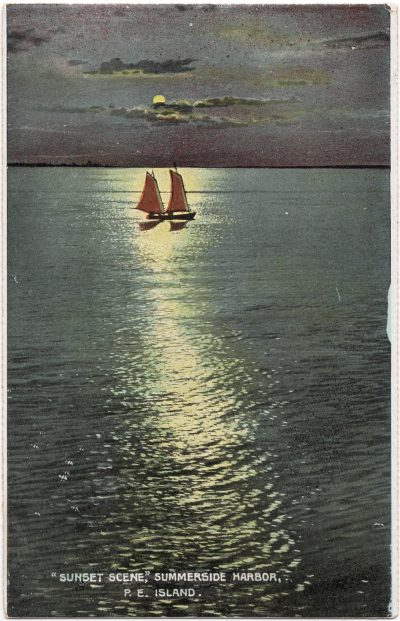 ", ""Sunset Scene"", Summerside Harbor, P.E. Island (0037), PEI Postcards"