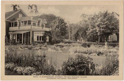 , A Summerside Garden. Prince Edward Island. (0040), PEI Postcards