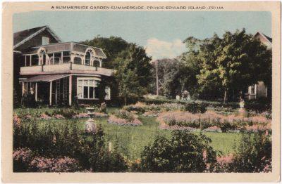 , A Summerside Garden Summerside Prince Edward Island.  {Provincial coat of arms on reverse} (0043), PEI Postcards