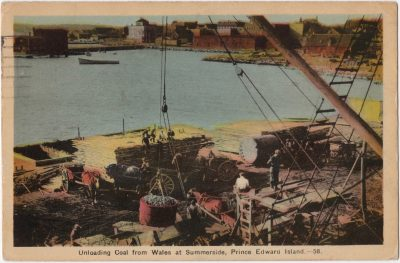 , Unloading Coal from Wales at Summerside, Prince Edward Island. (0049), PEI Postcards
