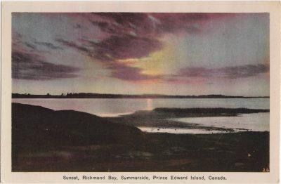 , Sunset, Richmond Bay, Summerside, Prince Edward Island, Canada. {# handwritten in LR of image} (0078), PEI Postcards