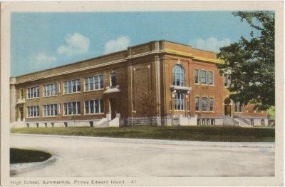 , High School, Summerside, Prince Edward Island (0082), PEI Postcards