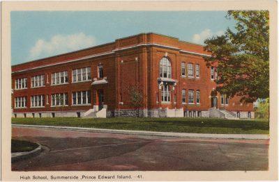 , High School, Summerside, Prince Edward Island. (0083), PEI Postcards