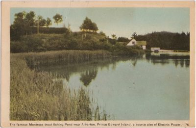 , The famous Montrose trout fishing pond near Alberton, Prince Edward Island, a source also of     Electric Power. (0090), PEI Postcards