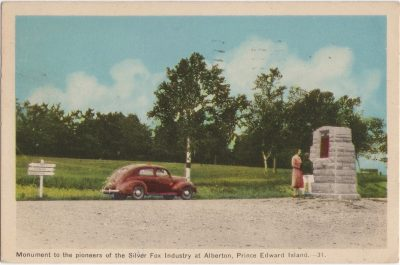 , Monument to the pioneers of the Silver Fox Industry at Alberton, Prince Edward Island. (0092), PEI Postcards