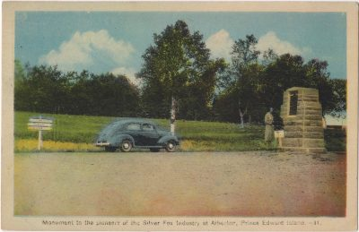 , Monument to the pioneers of the Silver Fox Industry at Alberton, Prince Edward Island. (0094), PEI Postcards