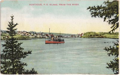 , Montague, P.E. Island, from the river. (1001), PEI Postcards