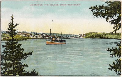 , Montague, P.E. Island, from the river. (0998), PEI Postcards