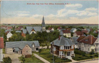 , Bird's Eye View from Post Office, Summerside, P.E.I. (1020), PEI Postcards