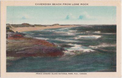 , Cavendish Beach from Lone Rock. Prince Edward Island National Park, P.E.I., Canada (1038), PEI Postcards