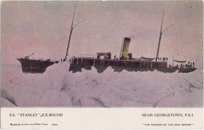 ", S.S. ""Stanley"" Ice-Bound Near Georgetown, P.E.I. (1065), PEI Postcards"