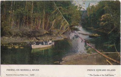 , Fishing on Morrell River Prince Edward Island (1059), PEI Postcards