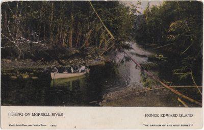 , Fishing on Morrell River Prince Edward Island (1054), PEI Postcards