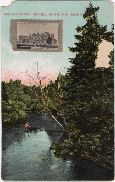 , Fishing Scene, Morell River, P.E. Island. Inset stamp of Prince of Wales College, Charlottetown. (1117), PEI Postcards