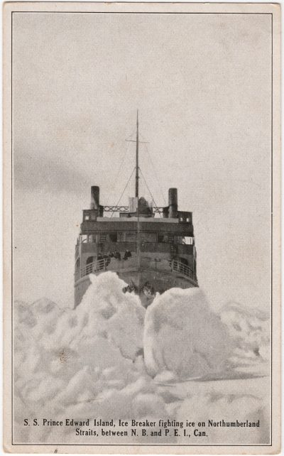 , S.S. Prince Edward Island, Ice Breaker fighting ice on Northumberland Straits, between N.B. and     P.E.I., Can. (1119), PEI Postcards