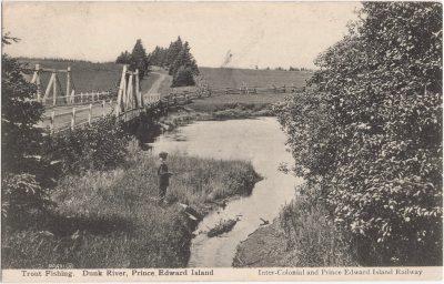 , Trout Fishing. Dunk River, Prince Edward Island (1108), PEI Postcards