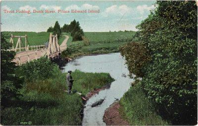 , Trout Fishing, Dunk River, Prince Edward Island (1094), PEI Postcards