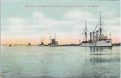 , British Cruisers in Harbor, Charlottetown, P.E. Island. (1153), PEI Postcards