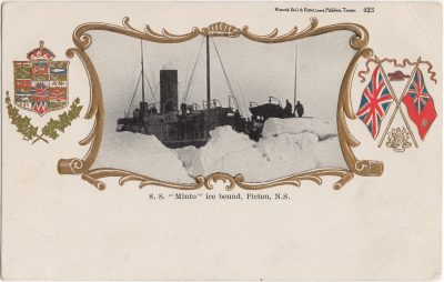 ", S.S. ""Minto"" ice bound, Pictou, N.S. (1164), PEI Postcards"