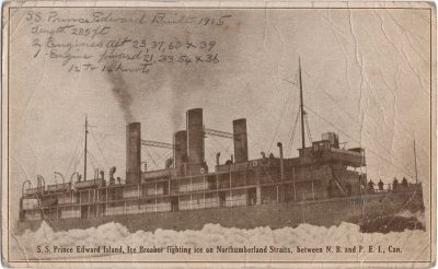 , S.S. Prince Edward Island, Ice Breaker fighting ice on Northumberland Straits, between N.B. and     P.E.I., Can. (1177), PEI Postcards