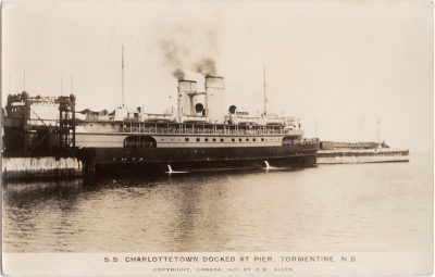 , S. S. Charlottetown Docked at Pier, Tormentine, N.B. Copyright Canada 1931 (1182), PEI Postcards