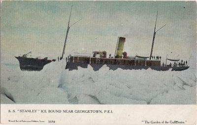", S.S. ""Stanley"" Ice Bound Near Georgetown, P.E.I. (1240), PEI Postcards"