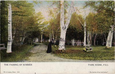 , The Passing of Summer Park Scene, P.E.I. (1241), PEI Postcards