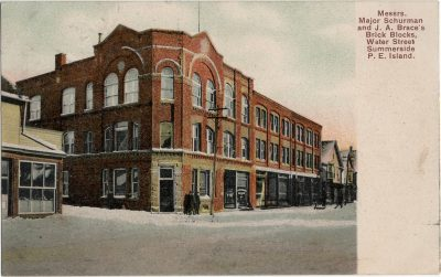 , Messrs. Major Schurman and J.A. Brace's Brick Blocks, Water Street Summerside P.E. Island (1277), PEI Postcards