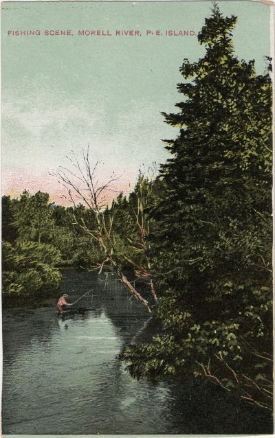 , Fishing Scene, Morell River, P.E. Island (1305), PEI Postcards