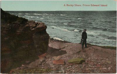 , A Rocky Shore, Prince Edward Island (1310), PEI Postcards