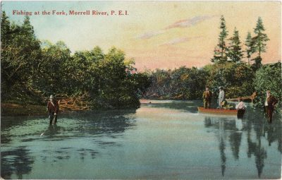 , Fishing at the Fork, Morrell River, P.E.I. (1360), PEI Postcards