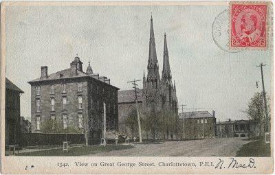 , View on Great George Street, Charlottetown, P.E.I. (1373), PEI Postcards
