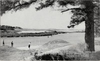 , Looking up 11th Fairway, Green Gables Golf Links, Prince Edward Island national Park (1401), PEI Postcards
