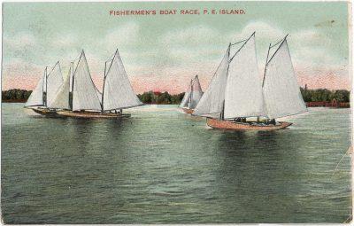 , Fishermen's Boat Race, P.E. Island (1358), PEI Postcards
