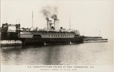, S.S. Charlottetown Docked at Pier, Tormentine, N.B. Copyright, Canada 1931. (1423), PEI Postcards